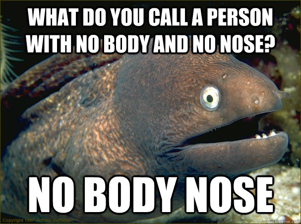what do you call a person with no body and no nose? no body nose - what do you call a person with no body and no nose? no body nose  Bad Joke Eel
