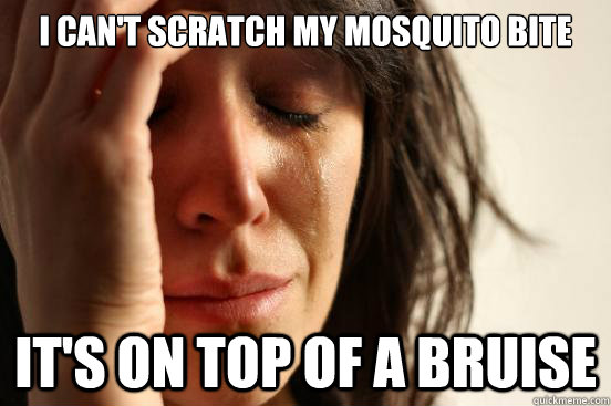 I can't scratch my mosquito bite It's on top of a bruise - I can't scratch my mosquito bite It's on top of a bruise  First World Problems