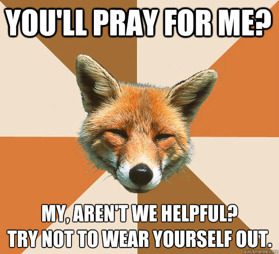 You'll pray for me? My, aren't we helpful?  Try not to wear yourself out. - You'll pray for me? My, aren't we helpful?  Try not to wear yourself out.  Condescending Fox