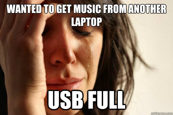 wanted to get music from another laptop usb full - wanted to get music from another laptop usb full  First World Problems
