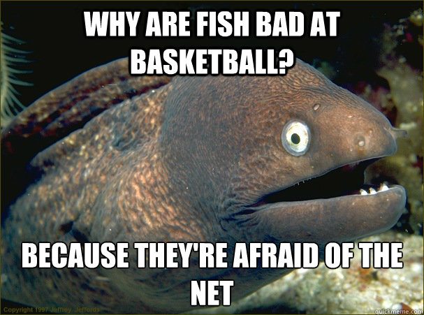 Why are fish bad at basketball?  Because they're afraid of the net - Why are fish bad at basketball?  Because they're afraid of the net  Bad Joke Eel