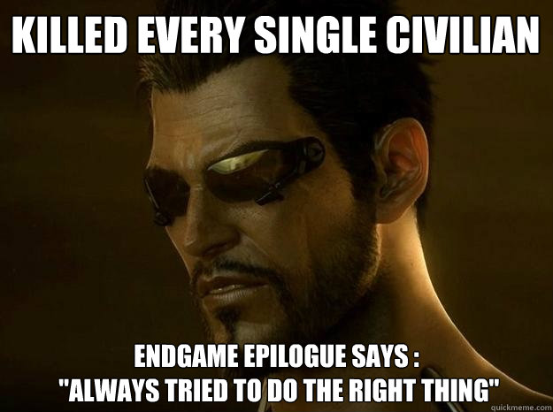 Killed every single civilian Endgame epilogue says :