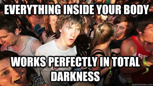 Everything inside your body Works perfectly in total darkness - Everything inside your body Works perfectly in total darkness  Sudden Clarity Clarence