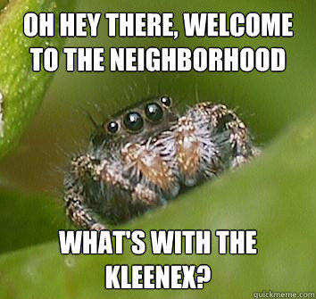 oh hey there, welcome to the neighborhood what's with the kleenex?