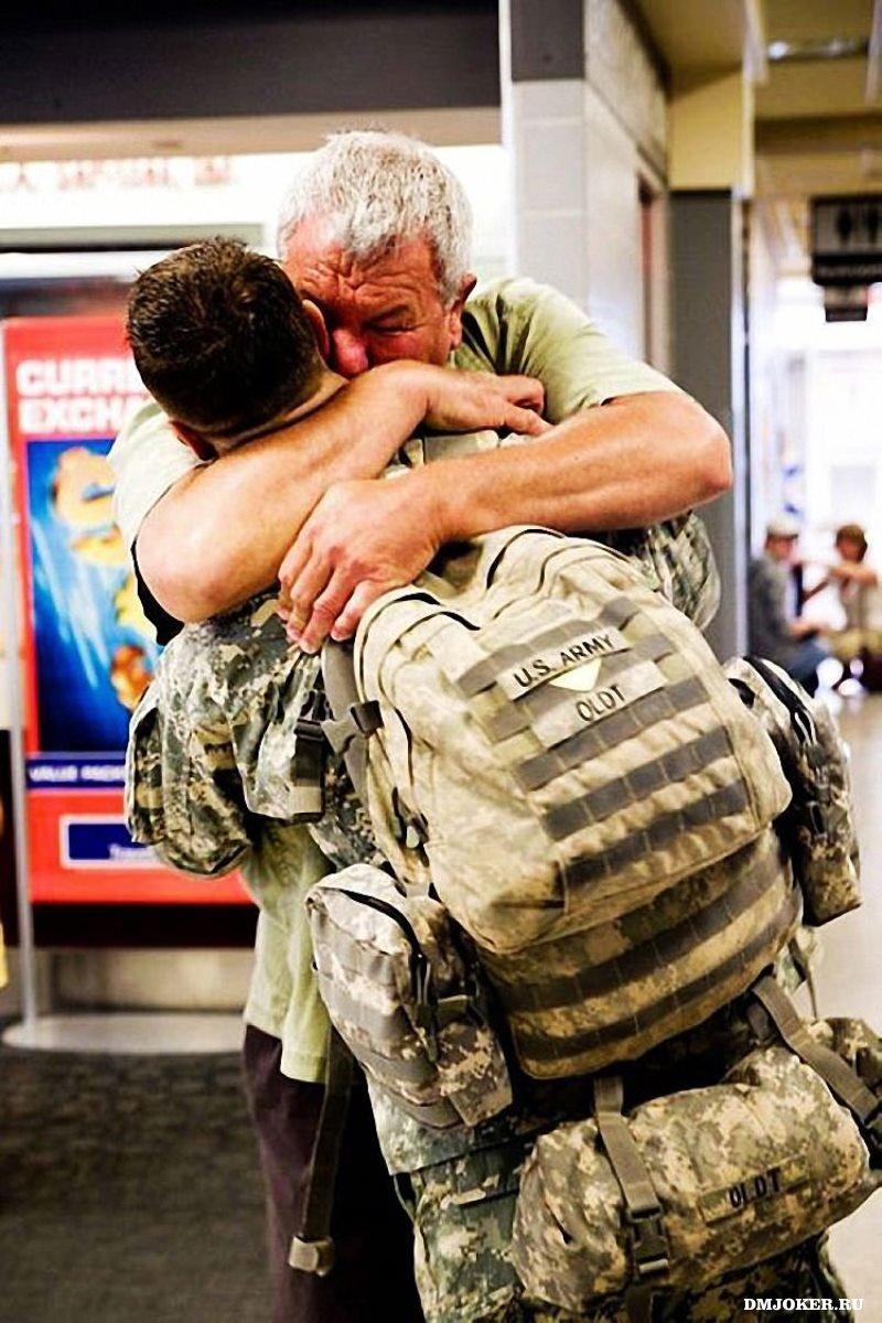 I hope every father can hug his son after a war..No matter which country you come from.. -   Misc