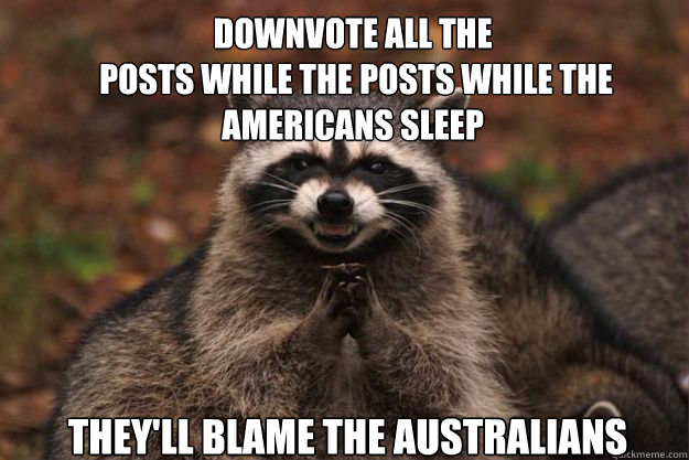 Downvote all the  posts while the posts while the Americans sleep They'll blame the Australians