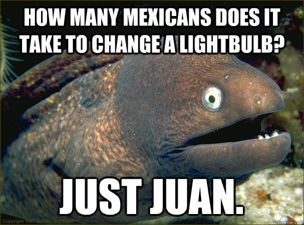 How many mexicans does it take to change a lightbulb? Just Juan.  Bad Joke Eel