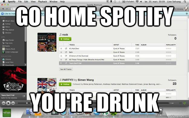 d3f1041e491b376b5e0a6752f913c595c8843e65b89a072aa572d0d82188297d go home spotify you're drunk misc quickmeme