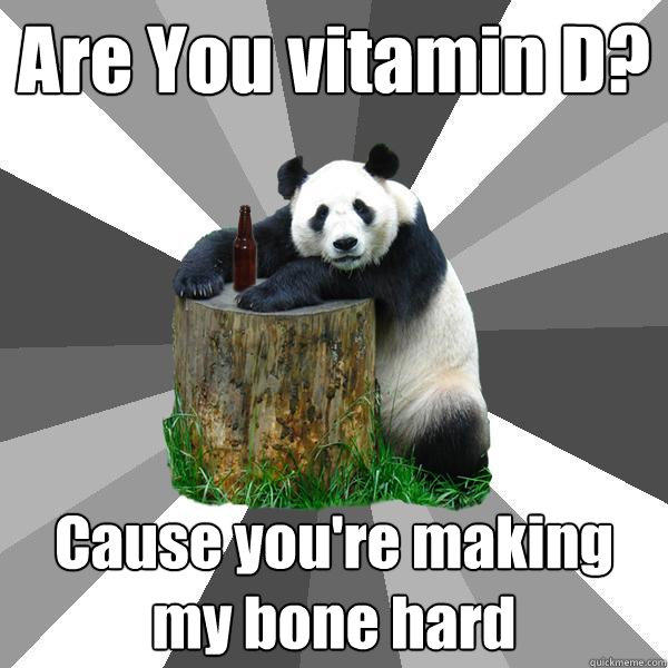 Are You vitamin D? Cause you're making my bone hard - Are You vitamin D? Cause you're making my bone hard  Pickup-Line Panda
