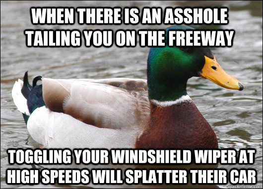 When there is an asshole tailing you on the freeway Toggling your windshield wiper at high speeds will splatter their car - When there is an asshole tailing you on the freeway Toggling your windshield wiper at high speeds will splatter their car  Actual Advice Mallard