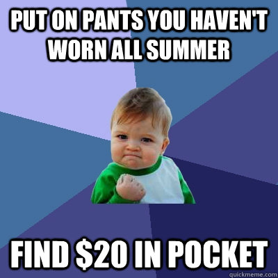 Put on pants you haven't worn all summer find $20 in pocket - Put on pants you haven't worn all summer find $20 in pocket  Success Kid