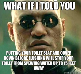 what if i told you putting your toilet seat and cover down before flushing will stop your toilet from spewing water up to 15 feet away - what if i told you putting your toilet seat and cover down before flushing will stop your toilet from spewing water up to 15 feet away  Matrix Morpheus