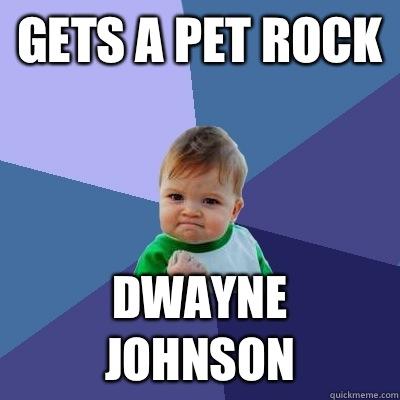 Gets a pet rock Dwayne Johnson  - Gets a pet rock Dwayne Johnson   Success Kid