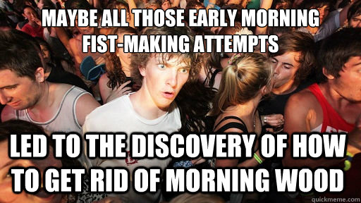 maybe all those early morning  fist-making attempts led to the discovery of how to get rid of morning wood - maybe all those early morning  fist-making attempts led to the discovery of how to get rid of morning wood  Sudden Clarity Clarence