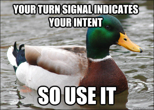 your turn signal indicates your intent SO USE IT - your turn signal indicates your intent SO USE IT  Actual Advice Mallard