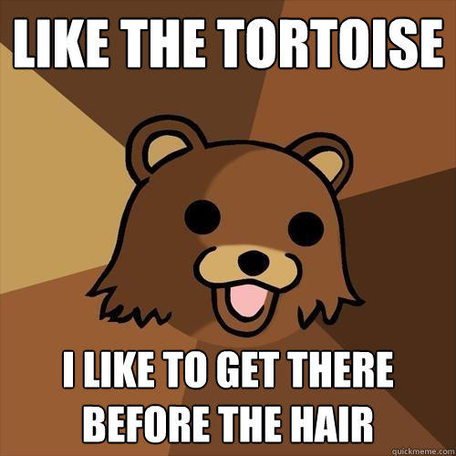 Like The Tortoise I like to get there before the hair - Like The Tortoise I like to get there before the hair  Pedobear