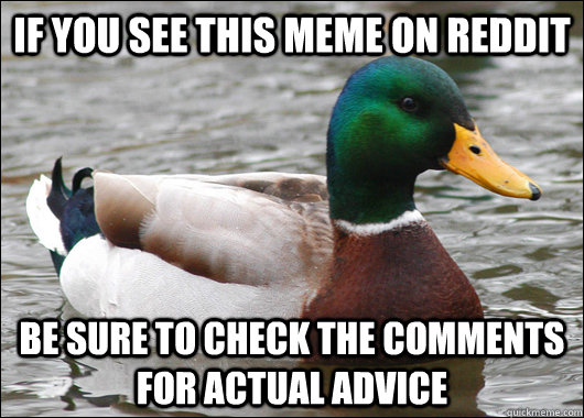 If you see this meme on reddit  Be sure to check the comments for actual advice - If you see this meme on reddit  Be sure to check the comments for actual advice  Actual Advice Mallard