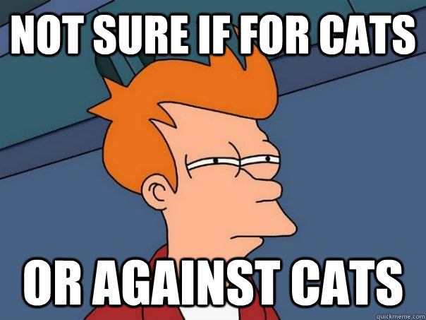 not sure if for cats or against cats - not sure if for cats or against cats  Futurama Fry