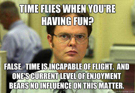 time flies when you're having fun? false.  time is incapable of flight.  and one's current level of enjoyment bears no influence on this matter. - time flies when you're having fun? false.  time is incapable of flight.  and one's current level of enjoyment bears no influence on this matter.  Dwight