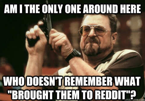 Am I the only one around here who doesn't remember what ''brought them to reddit''? - Am I the only one around here who doesn't remember what ''brought them to reddit''?  Am I the only one
