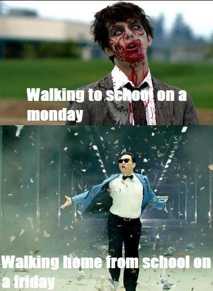 Walking home from school: Monday vs Friday -   Misc