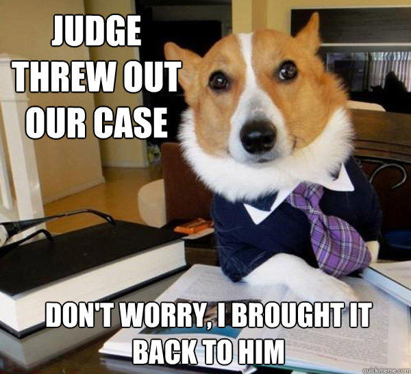 Judge threw out our case don't worry, I brought it back to him - Judge threw out our case don't worry, I brought it back to him  Lawyer Dog