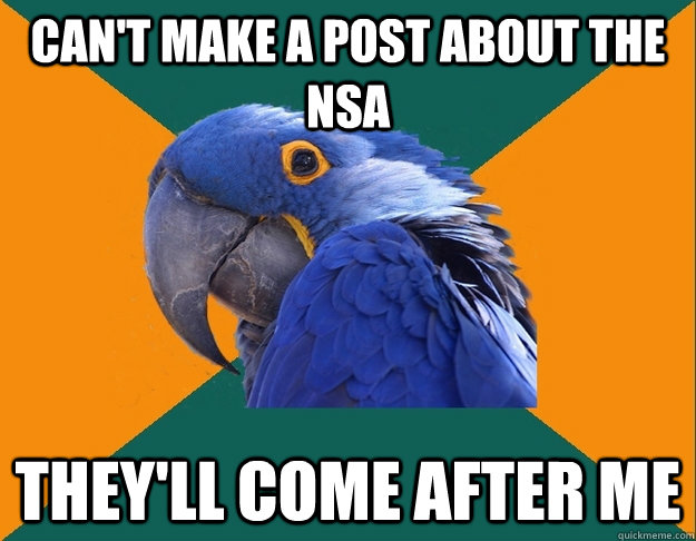 Can't make a post about the NSA They'll come after me