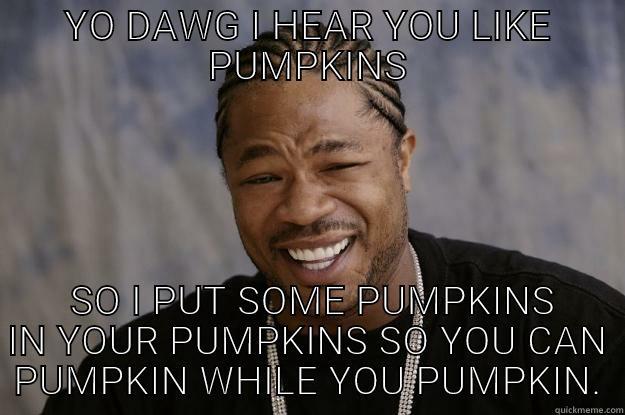 YO DAWG I HEAR YOU LIKE PUMPKINS  SO I PUT SOME PUMPKINS IN YOUR PUMPKINS SO YOU CAN PUMPKIN WHILE YOU PUMPKIN. Xzibit meme