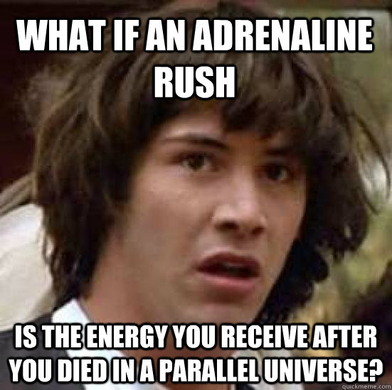 what if an adrenaline rush is the energy you receive after you died in a parallel universe? - what if an adrenaline rush is the energy you receive after you died in a parallel universe?  conspiracy keanu