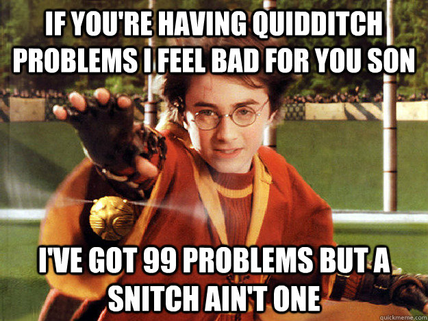 If you're having Quidditch problems I feel bad for you son I've got 99 problems but a snitch ain't one