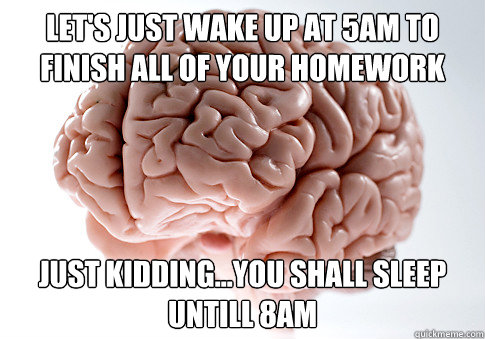 Let's just wake up at 5am to finish all of your homework just kidding...you shall sleep untill 8am - Let's just wake up at 5am to finish all of your homework just kidding...you shall sleep untill 8am  Scumbag Brain