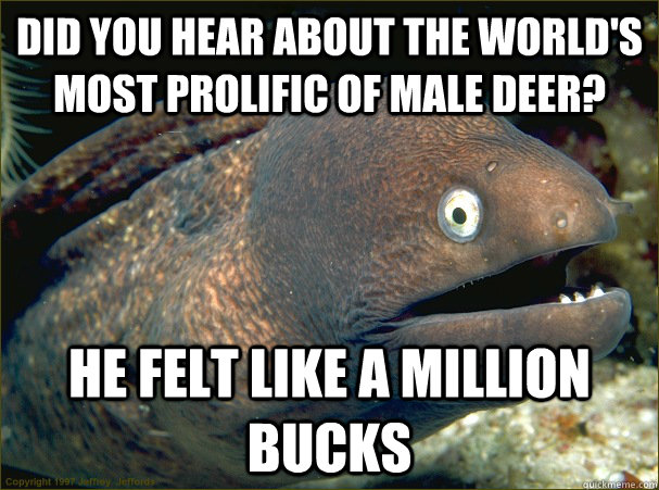 did you hear about the world's most prolific of male deer? he felt like a million bucks - did you hear about the world's most prolific of male deer? he felt like a million bucks  Bad Joke Eel