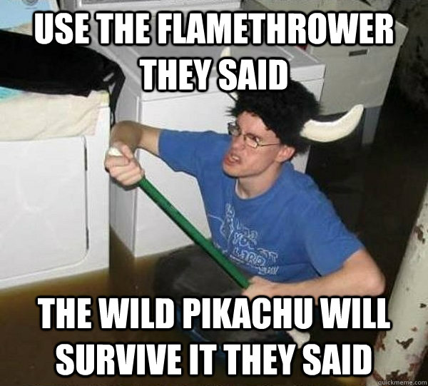 Use the flamethrower they said the wild pikachu will survive it they said - Use the flamethrower they said the wild pikachu will survive it they said  They said
