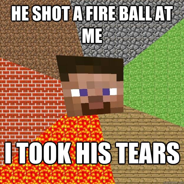 He shot a fire ball at me I took his tears  Minecraft