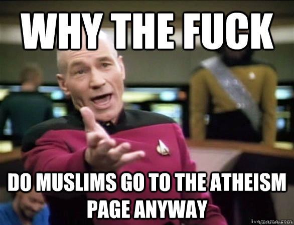 why the fuck Do Muslims go to the atheism page anyway - why the fuck Do Muslims go to the atheism page anyway  Annoyed Picard HD