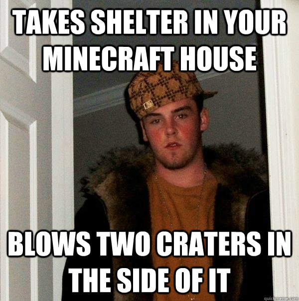 Takes shelter in your minecraft house blows two craters in the side of it  Scumbag Steve