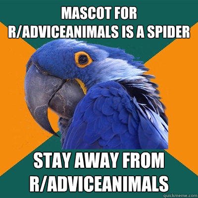 mascot for r/adviceanimals is a spider stay away from r/adviceanimals - mascot for r/adviceanimals is a spider stay away from r/adviceanimals  Paranoid Parrot