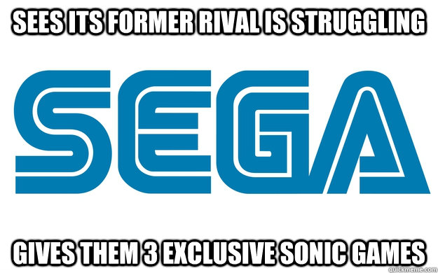 Sees its former rival is struggling gives them 3 exclusive Sonic games