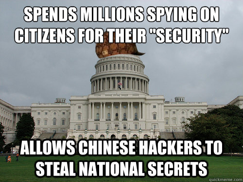 Spends millions spying on citizens for their