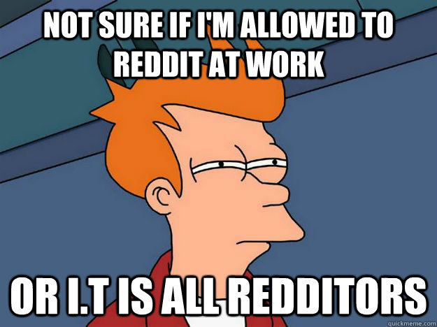 not sure if i'm allowed to reddit at work or i.t is all redditors - not sure if i'm allowed to reddit at work or i.t is all redditors  Skeptical fry