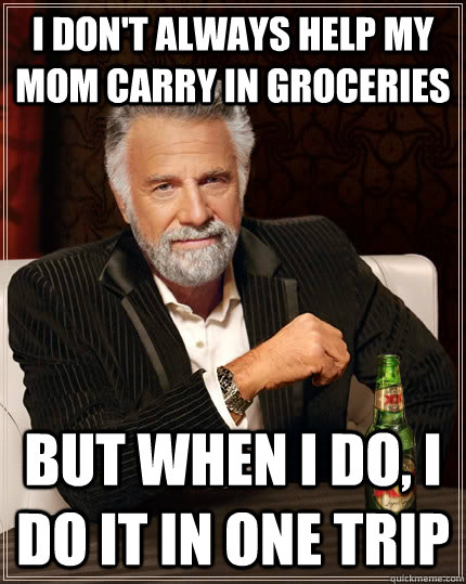 I don't always help my mom carry in groceries but when I do, I do it in one trip - I don't always help my mom carry in groceries but when I do, I do it in one trip  Misc