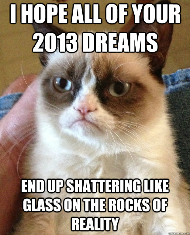 I hope all of your 2013 dreams end up shattering like glass on the rocks of reality - I hope all of your 2013 dreams end up shattering like glass on the rocks of reality  Misc