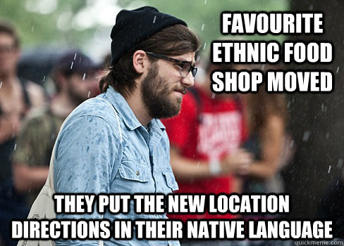 Favourite ethnic food shop moved They put the new location directions in their native language