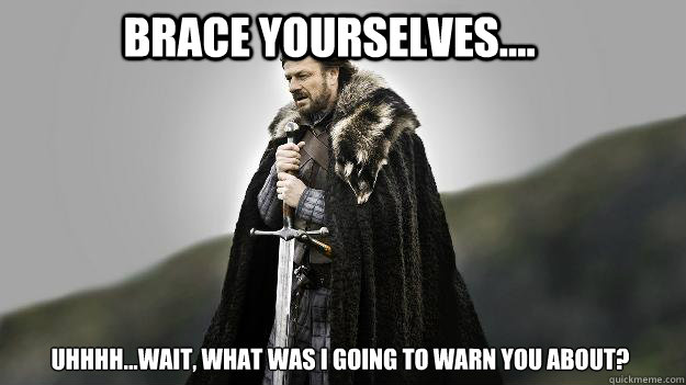 Brace Yourselves.... Uhhhh...wait, what was I going to warn you about? - Brace Yourselves.... Uhhhh...wait, what was I going to warn you about?  Ned stark winter is coming