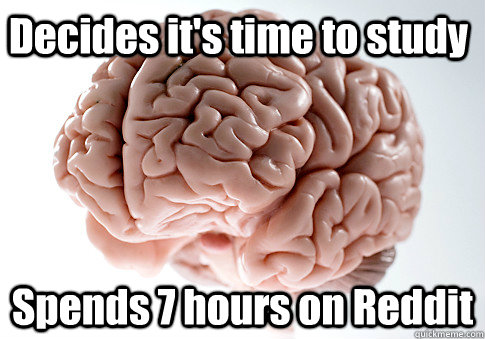 Decides it's time to study Spends 7 hours on Reddit OH GOD - Decides it's time to study Spends 7 hours on Reddit OH GOD  Scumbag Brain