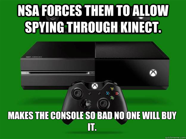 NSA forces them to allow spying through kinect.  Makes the console so bad no one will buy it.