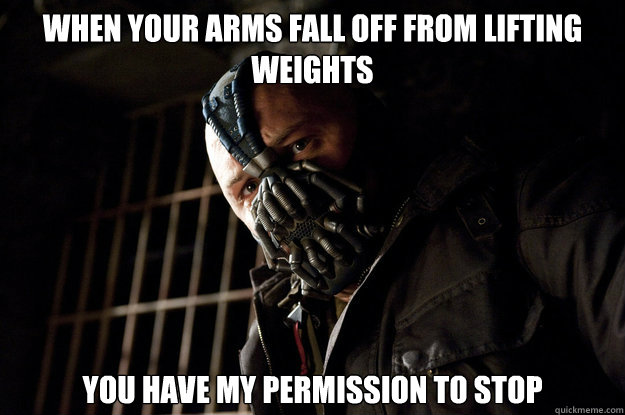When your arms fall off from lifting weights you have my permission to stop - When your arms fall off from lifting weights you have my permission to stop  Academy Bane