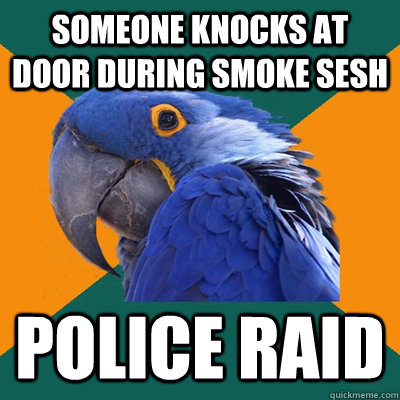 someone knocks at door during smoke sesh Police raid - someone knocks at door during smoke sesh Police raid  Paranoid Parrot