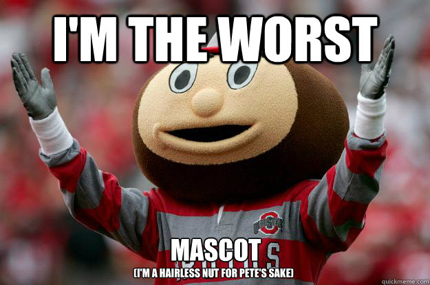 I'm the worst mascot  (I'm a hairless nut for Pete's sake)