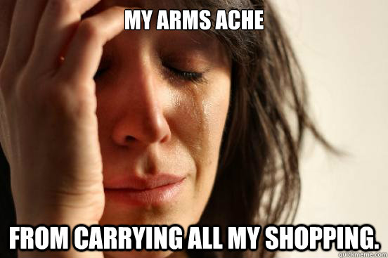 My arms ache from carrying all my shopping. - My arms ache from carrying all my shopping.  First World Problems